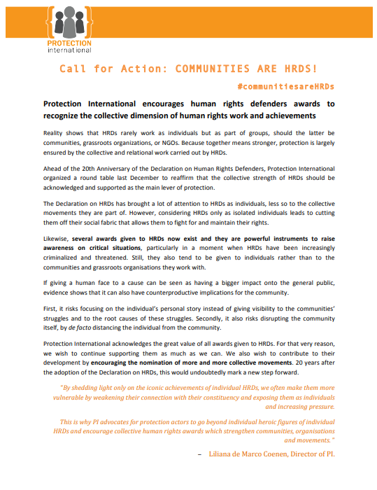 More Evidence That Movement To Defend >> Communities Are Hrds Pi S Global Campaign 20th Anniversary Of The